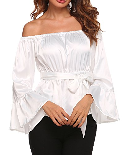 UNibelle Women's Off The Shoulder Bell Sleeve Blouse Top with Belt,White,Small ()