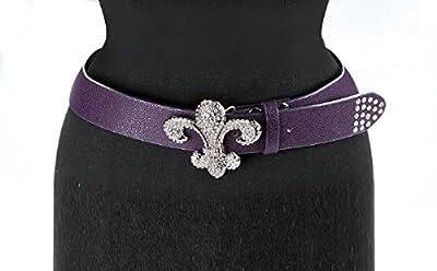 """Isabella's Journey Shimmer Fleur De Lis Purple Belt M/L Fits 36-40"""" IOBOSC"""