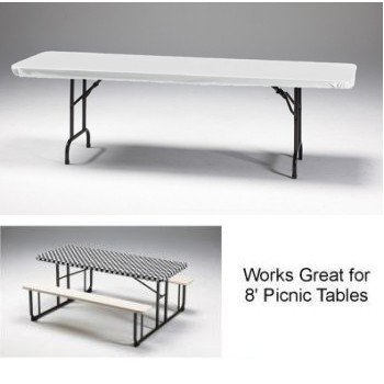 Creative Converting Stay Put Elastic Tablecloth, White fits 8' Banquet Tables 12 Per Pack