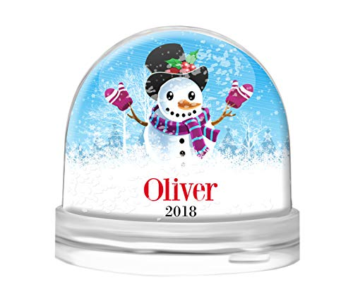 (Dinkleboo Personalized Snow Globe for Kids and Adults Young at Heart - Clear Acrylic Dome - Your Choice of White Snow, Red Hearts or Purple Glitter - Select from Several Cute Designs (Snowman))