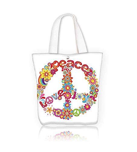 Canvas Tote Bag Peace flower symbol with hippie symbolic Zipper Closure Grocery Shopping Bag for Women Girls Students W11xH11xD3 INCH