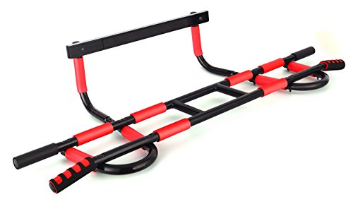 ProFit Doorway Pull Up Chin Up Door Gym Upper Body Workout Trainer Bar maximum stability-weight load of 600lbs- 16 grip position- easy and quick(4 screws) to setup anywhere home workout (Black Frame)