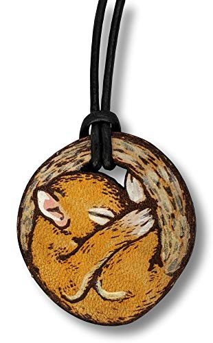 Squirrel Steel (ForLeatherMore - Sleepy Squirrel - Genuine Leather Necklace - with 18 inch Leather Cord - Hand Stained - Stainless Steel Lobster Clasp)