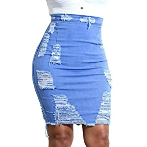 UOFOCO Jean Skirt for Womens Ladies Distressed Skirt High Waist Ripped Denim Bodycon Pencil