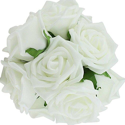 Beautiful Decor Bouquets of 10pcs Artificial Flowers Fake Rose Classic White for Wedding Bridesmaid Bridal Bouquet Arrangements Decoration
