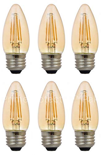 (6 Pack) Sylvania 79536-40 Watt Equivalent Vintage LED B10 Light Bulb E26 Medium Base Blunt Candle Tip 40W Retro Antique Edison Filament Warm Amber Glow (Not White) Indoor Outdoor Non Dimmable ()