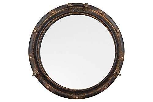 Creative Co-op Distressed Metal Port Hole Reflective Framed Mirror, 22