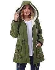 ZERDOCEAN Women's Plus Size Winter Warm Coats Hoodie Parkas Overcoat Faux Fur Lined Outwear Jackets.