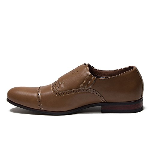 Mens Ferro Aldo 19396 Double Monk-Strap Perforated Brogue Dress Loafers Shoes Brown rP0gTvoG