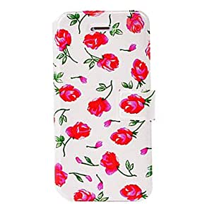 SUMCOM Fashion Small Fresh Series Red Flowers Pattern Leather Case with Holder & Card Slots for iPhone 5/5S