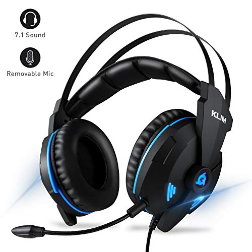 (Klim Impact - USB Gaming Headset - 7.1 Surround Sound + Noise Cancelling - High Definition Audio + Strong Bass - Video Games Headphones Audifonos with Microphone for PC Gamer)