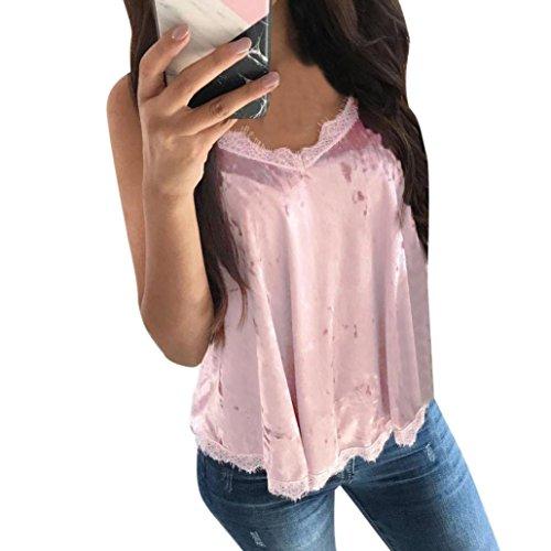 (Boomboom Women Vest, Women V-Neck Lace Camisole Sleeveless Strappy Vest Shirt (XXL, Pink) )