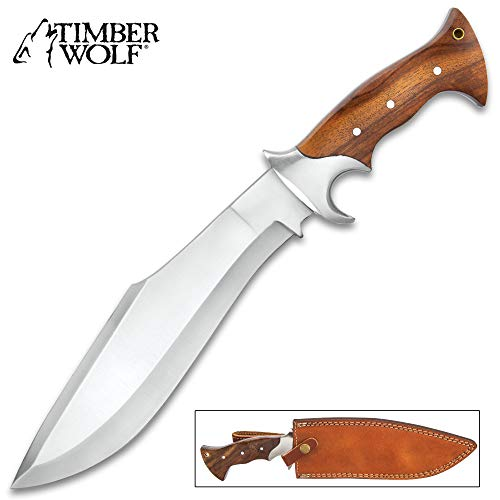 Blade Wooden Handle - Timber Wolf Jungle Commander Kukri Knife with Sheath - Stainless Steel Blade, Wooden Handle Scales, Stainless Steel Guard - Length 15 1/4