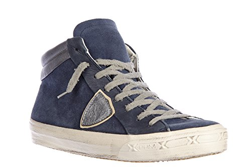 Philippe Model chaussures baskets sneakers hautes homme en daim middle vintage b