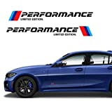 Health mall M-Colored Stripe Decal Sticker Fit for BMW M Performance Exterior Cosmetic Such As Hood/Bonnet Trunk Side Skirt Bumper Etc(2 Pcs)