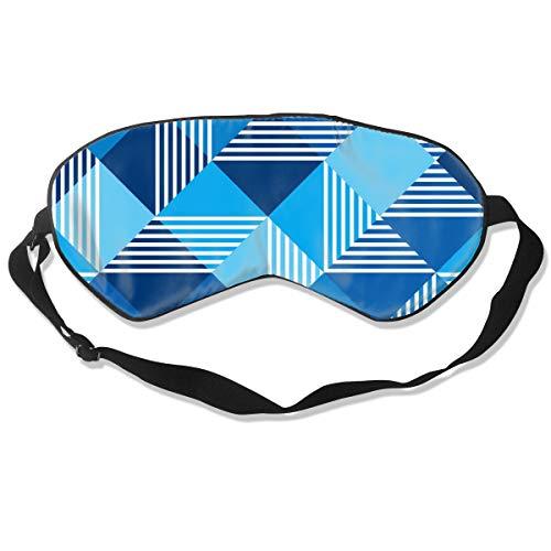 GRFER Summer Sea Blue Geometry Seamless Pattern Best Sleep Mask Travel, Nap, Adjustable Belt Eye Mask for Men and Women