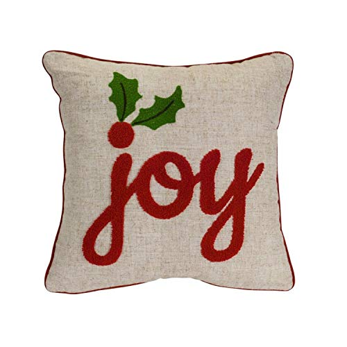 Diva At Home Set of 2 Red and Brown Joy Printed Christmas Decorative Throw Pillow 15.5