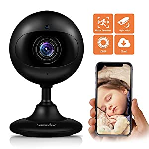 Wansview Wireless Security Camera, 1080P HD WiFi Home Indoor IP Camera with Motion Detection, Night Vision and Two-Way Audio for Baby/Elder/Pet/Nanny- Cloud Storage Included-Black