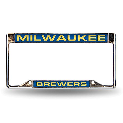 - MLB Milwaukee Brewers Laser-Cut Chrome Auto License Plate Frame