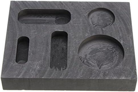 SEVENMORE 10 OZ Graphite Crucible Ingot Bar Combo Mold for Silver Gold Melting Casting
