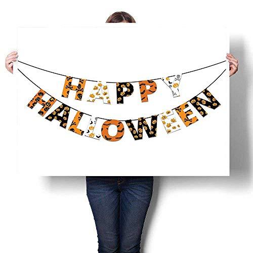 J Chief Sky Halloween Wall Decoration Happy Halloween Banner Greetings Pumpkins Skull Cross Bones Bats Pennant Digitally Printed Orange Black White 32