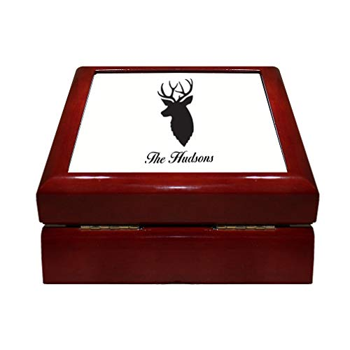 Style In Print Personalized Custom Text Deer Head Silhouette Wood Organizer Jewelry Box 4