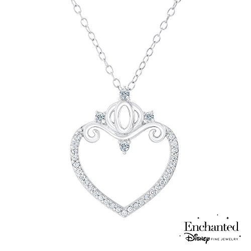 Enchanted Disney Cinderella's Carriage Diamond Heart Pendant 1/5ctw (Cinderella Disney Carriage)