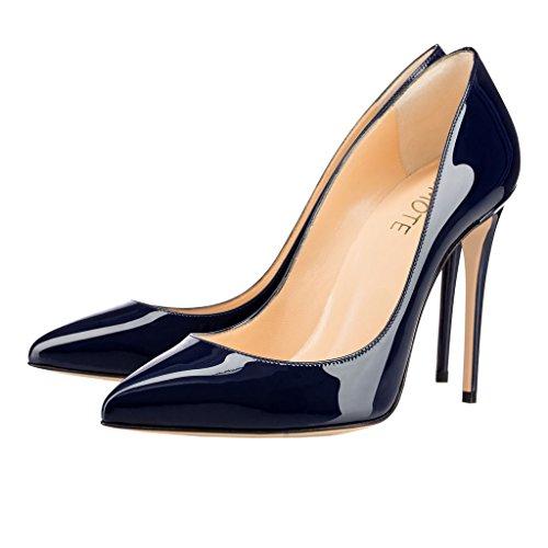 MERUMOTE Womens Gradient Pointed Toe Stiletto High Heel Patent Leather Elegant Dress Party Pumps Blue-patent 76l7UIJQX