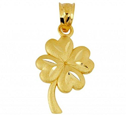 Gold Shamrock Pendant - 10K Gold Lucky Irish 4-Leaf Clover Celtic Pendant