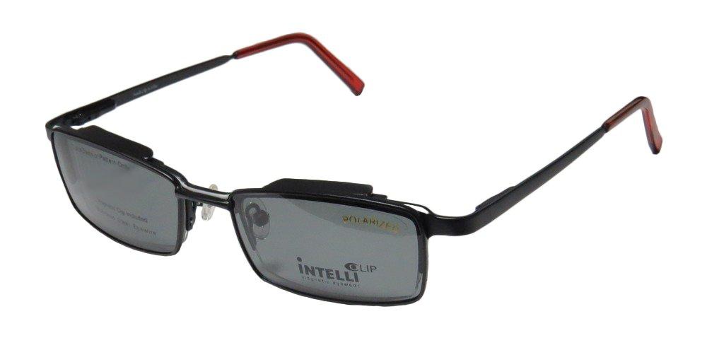 Elite Stylish Hot Eyewear 744 Mens/Womens Designer Half-rim Sunglass Lens Clip-Ons Spring Hinges Eyeglasses/Eyewear (50-20-140, Black/White / Red) by Elite Eyewear