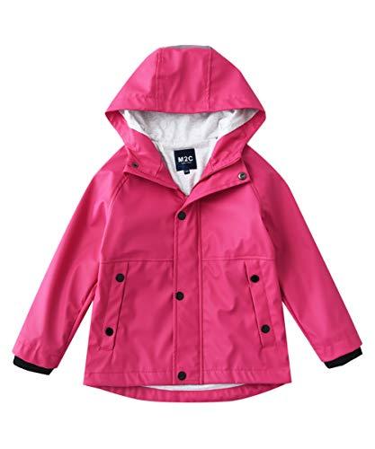 M2C Girls Hooded Cotton Lined Waterproof Rain Jackets Windproof Raincoats Pink 4T -