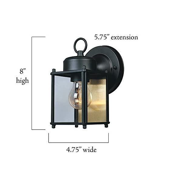 Designers Fountain 1161-BK Value Collection Wall Lanterns, Black - Designers value Uses Medium base bulb UL/CUL and wet rated - patio, outdoor-lights, outdoor-decor - 41AzTec0ycL. SS570  -
