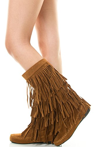 Refresh JOLIN-02 Women's Fringe Moccasin Flat Heel Zipper Under Knee High Boots, Color:TAN, Size:9 (Indian Boots)