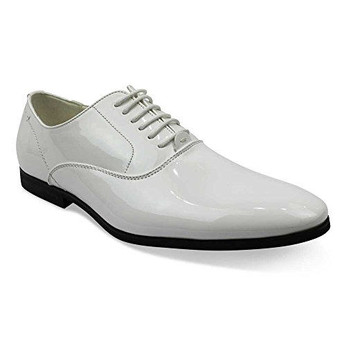 AZAR MAN Men's Tuxedo Shoes Patent Leather Traditional Round Toe Lace Up Oxfords 10.5 U.S (D) M, - White Tuxedo Shoe