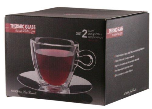 Verre Luigi Bormioli Thermic Glass Confection /à Th/é ou Cappuccino avec Assiettes en Borosilicate 2 Pi/èces Transparent
