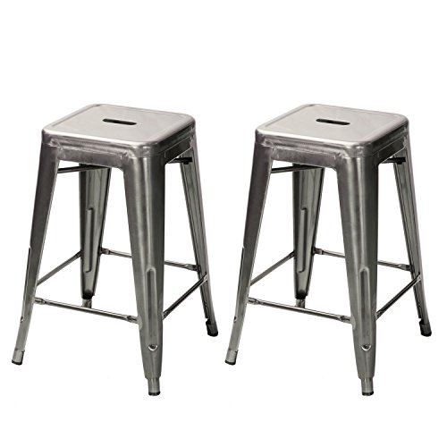 Asense 24-inch High Tolix-style Backless Barstools Glossy Metal with Square Seat Chair Counter Stool (set of 2) (Gunmetal)