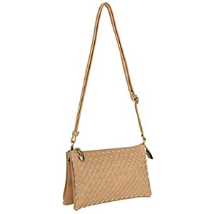 SLectionAccess Cooper Woven Vegan Leather Crossbody Wallet Clutch with Removable Shoulder Strap and Wrist Strap fits Most Smartphones - Retail Packaging - Beige