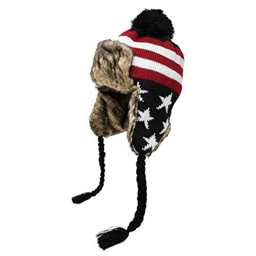 High Desert Gear Unisex Men's Women's Winter American Flag Peruvian Bomber Trapper Beanie Knit Hat Deluxe Fur Hat -