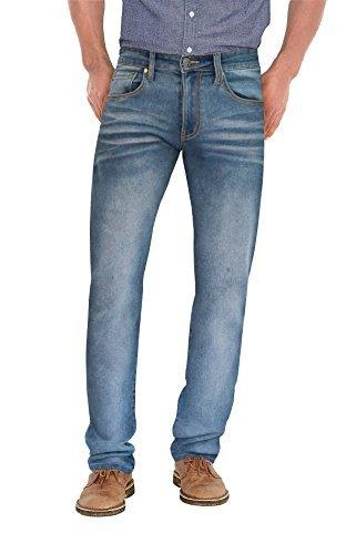 Agile Mens Super Comfy Straight Stretch Denim Jean AKP44102SL Light Blue 34X32 (Sweatpants That Look Like Jeans For Men)