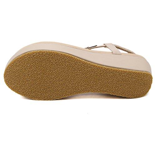 Sandal Women's Wedge Platform Foam Thong apricot DQQ TOxU7wqx