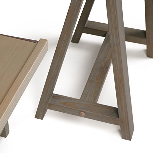 Simpli Home Sawhorse Solid Wood L-Shape Corner Desk, Distressed Grey by Simpli Home (Image #5)
