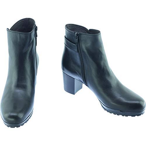 PLUMERS Plateforme 40 Mode Pointures Bottines Crantée Semelle T C Cuir TERANOVAS Noir Chaussures Et Femmes Petites Marque Boots Noir rw0tUrqx1