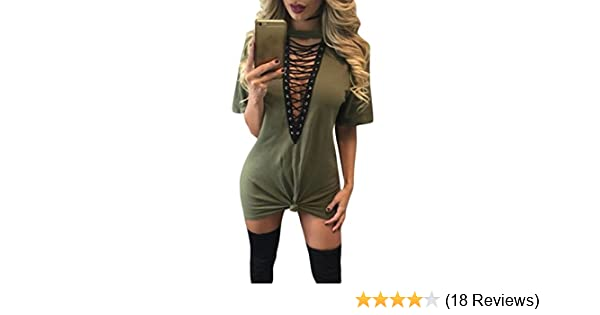 cb0493de39 Amazon.com  Dearlovers Womens Lace Up Front Half Sleeves Casual Loose  Tshirt Dress Medium Army Green  Clothing