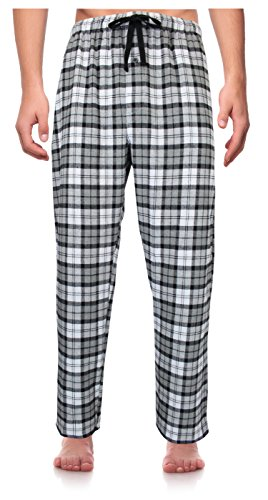 RK Classical Sleepwear Men's 100% Cotton Flannel Pajama Pants,Gray / White, Plaid (F0151),Large