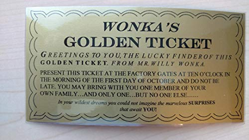 Wonkamania WILLY WONKA GOLDEN TICKET ~ LAMINATED - 6 1/4 x 3 1/4 (Willy Wonka Chocolate Candy Bar)