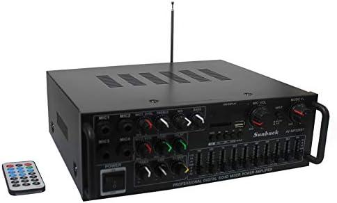 Sunbuck 600W Karaoke Wireless Bluetooth Power Amplifier System 2 Channel Stereo Sound Audio Receiver -w R L Channel EQ Adjustment, USB SD, RCA, 4 MICS Input for Home Theater Speaker w Echo. AV326BT