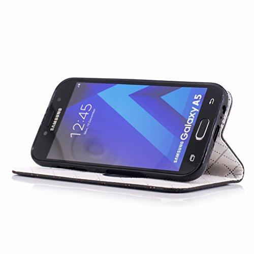 Yiizy Samsung Galaxy A5 (2017) Custodia Cover, Amare Design Sottile Flip Portafoglio PU Pelle Cuoio Copertura Shell Case Slot Schede Cavalletto Stile Libro Bumper Protettivo Borsa (Nero)
