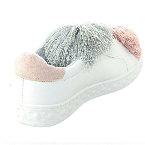 Colorate Bassa Con Pelle Donna Applicazioni Femminili Pon Fondo Glamour Simil Sneakers Scarpe Liscio Bianco q8xExY
