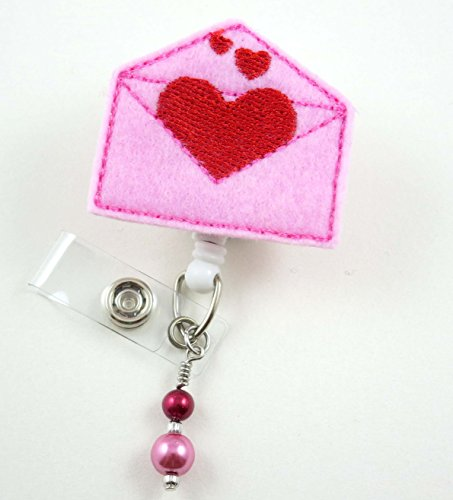 Valentine's Heart Envelope - NurseBadge Reel - Retractable ID Badge Holder - Nurse Badge - Badge Clip - Badge Reels - Pediatric - RN - Name Badge Holder