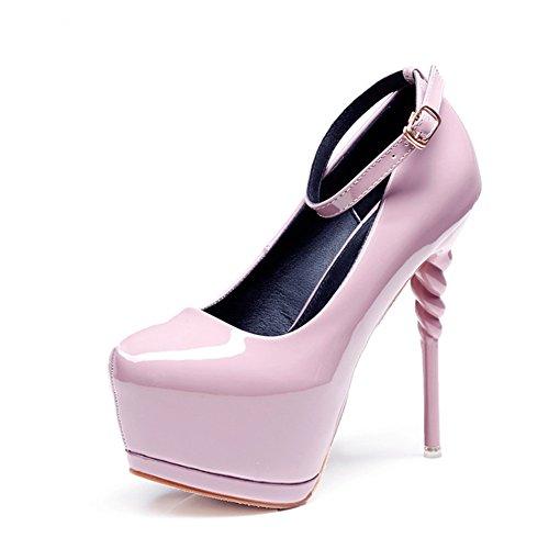 Femmes Hauts Talons Sandales D'été Ronde Tête Un Mot Boucle De Mode Asakuchi Chaussures B CjgAYQ